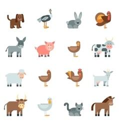 Domestic animal flat icons set vector