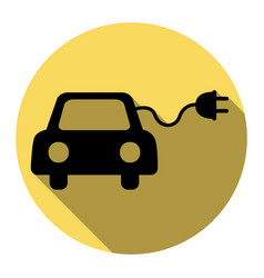 Eco electric car sign flat black icon vector