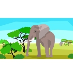 Elephant in a field with trees seamless animals vector