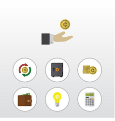 Flat icon finance set of bubl interchange cash vector