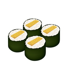 Fried egg sushi roll or tamagoyaki maki on white vector
