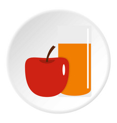 Glass of juice with red apple icon circle vector