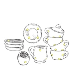 Hand drawn plate and cup dishwares sketch vector