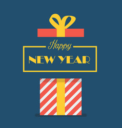 Happy new year with gift box vector