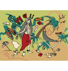 hawaii doodles vector image vector image