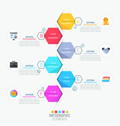 Infographic design layout vertical timeline and 6 vector