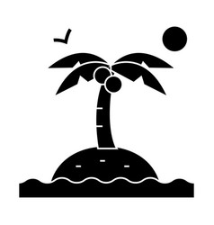 island with palms icon sig vector image vector image