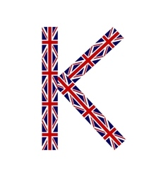 Letter K made from United Kingdom flags vector image vector image