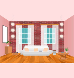 Living room interior in hipster style with frame vector