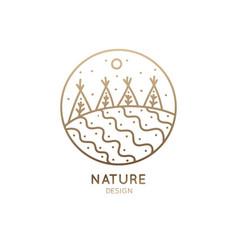 logo garden and fields vector image
