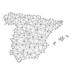 Map of spain from polygonal black lines and dots vector