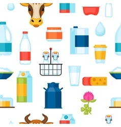 Milk seamless pattern with dairy products and vector