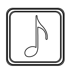 Monochrome contour with button of sign eighth note vector