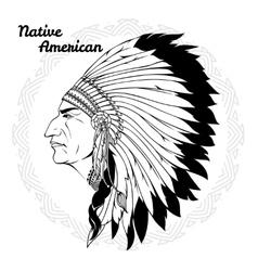 Native american in profile monochrome vector
