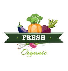 natural fresh food vegetables logo badge vector image vector image