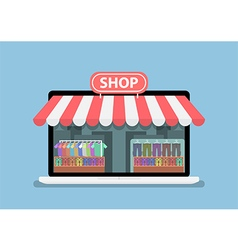 Online store on laptop monitor screen vector image