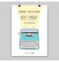 Retro typewriter poster vector