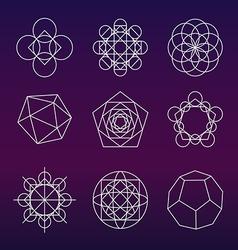 Sacred geometry symbols set vector