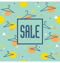 Sale banner with hangers and geometric pattern vector