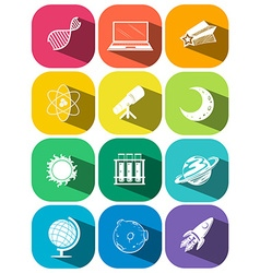 Science symbols on color icons vector