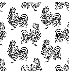 Seamless pattern background with roosters black vector