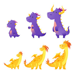 set of cute dragon vector image vector image