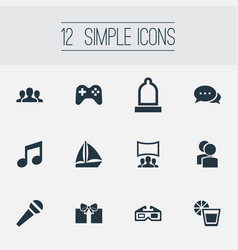 Set of simple banquet icons vector