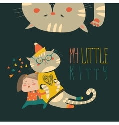 Small girl with funny kitten vector