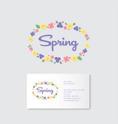 spring boutique emblems flowers wreath vector image