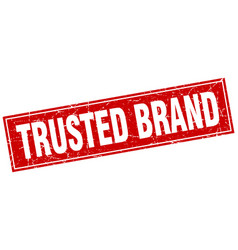 Trusted brand red square grunge stamp on white vector