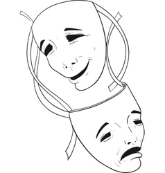 Two theater masks vector
