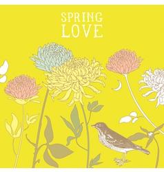Vintage Spring Birds Background vector image vector image