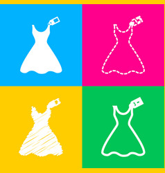 Woman dress sign with tag four styles of icon on vector