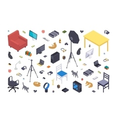 Isometric flat office items vector