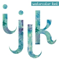 Green-blue watercolor font ijkl vector