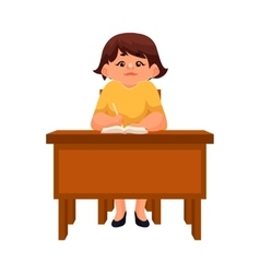 Chubby school girl sitting at the desk listening vector