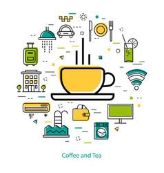 coffee and tea - line art vector image