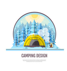 Flat style design of winter forest and caming vector