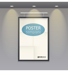 White poster template with frame on a rope vector