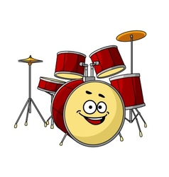 Drum set having a big happy laughing smile vector