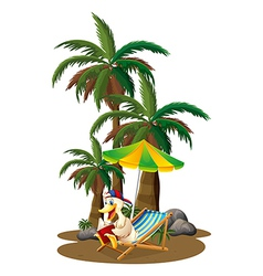A duck reading near the palm trees vector