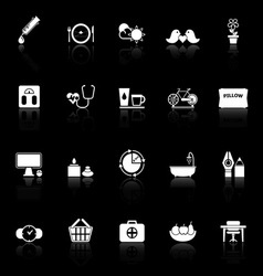 Health behavior icons with reflect on black vector