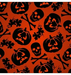 Halloween background with pumpkin and skeleton vector