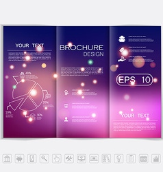 Tri-fold brochure mock up design smooth unfocused vector