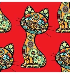 Funny cats background vector
