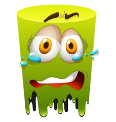 Crying face on green vector