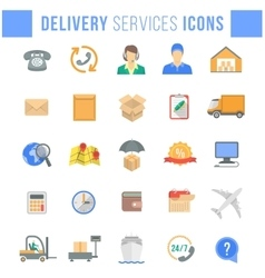 Delivery and logistics services flat web icons vector