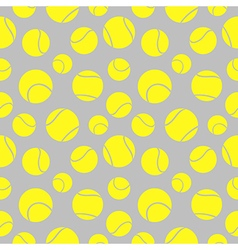 Seamless pattern with elements of yellow tennis ba vector