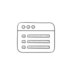 Browser window with folder contents sketch icon vector