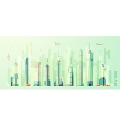 New york city skyline flat style vector